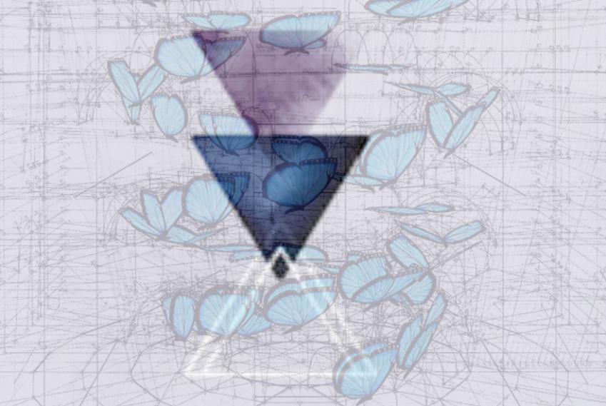 Blue morph double helix de Rafael Auraujo et logo de Delphine De Pretto