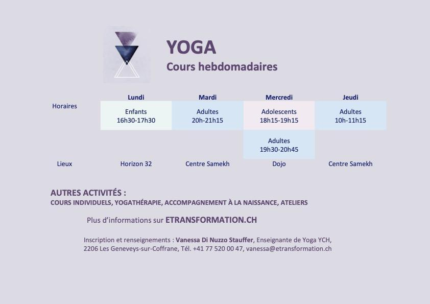 Programme cours yoga 2021 2022